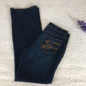 Seven7 Blue Denim Flare Jeans Sz 6